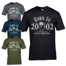 Born in 2002 T-Shirt - 18th Year Birthday Age Present Beer Funny Aged Mens Gift